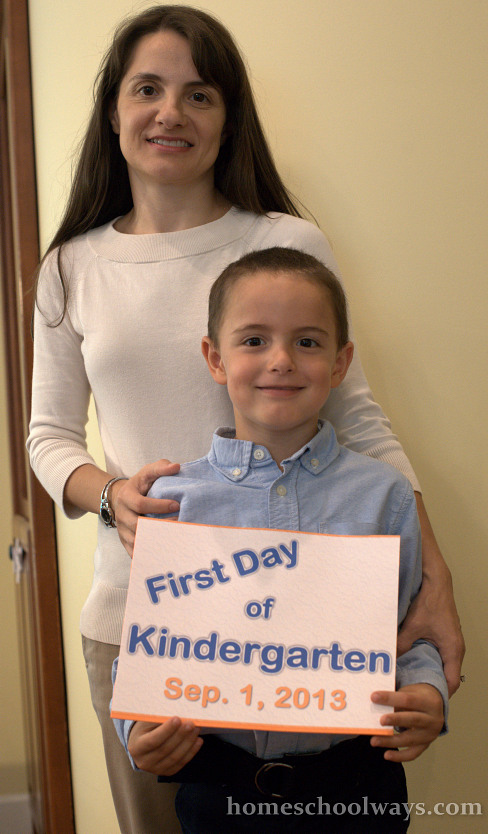 First Day of Kindergarten at Home