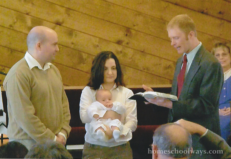 Baby boy getting dedicated in Protestant church
