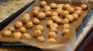 Here are the peanut butter balls getting ready to chill in the refrigerator for one hour.