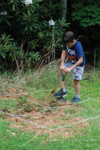 Boy digging an archaeological site