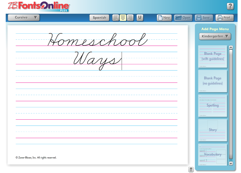 Zaner-Bloser Homeschool Ways Fonts Online
