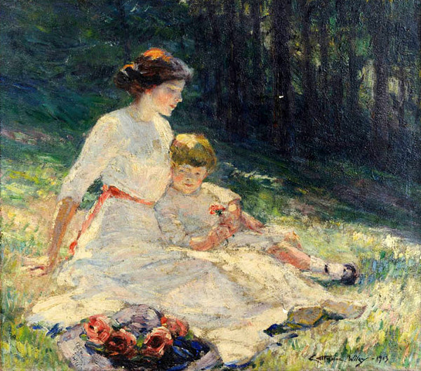 Seated Mother and Child In A Meadow by Catherine Wiley