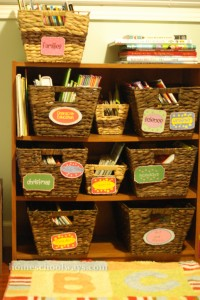 Book bins with labels