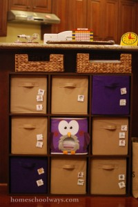 Shelf with canvas bins, labeled for different school subjects