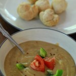 Cream of vegetable soup and sebetu rolls