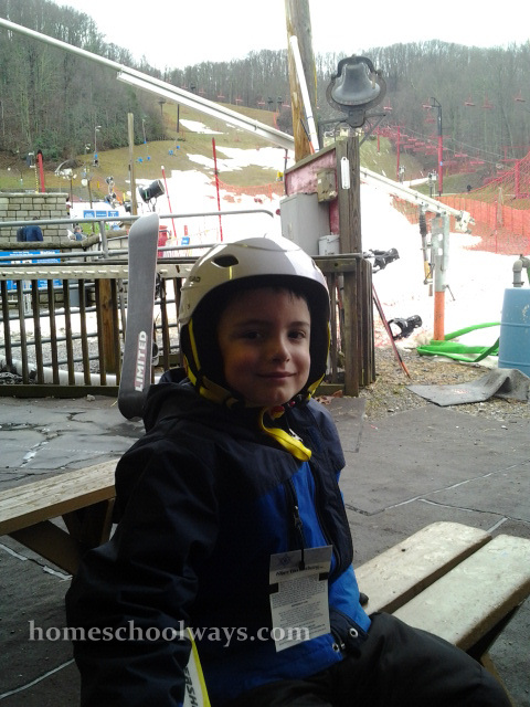 Boy waiting for the ski lesson