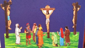 The crucifixion scene on a felt board