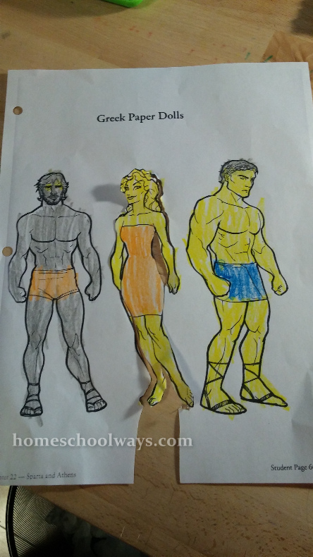 Two warriors and a lady - Greek paper dolls