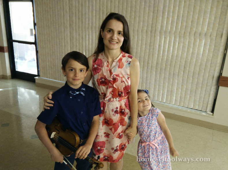 Mom, son and daughter, after violin recital