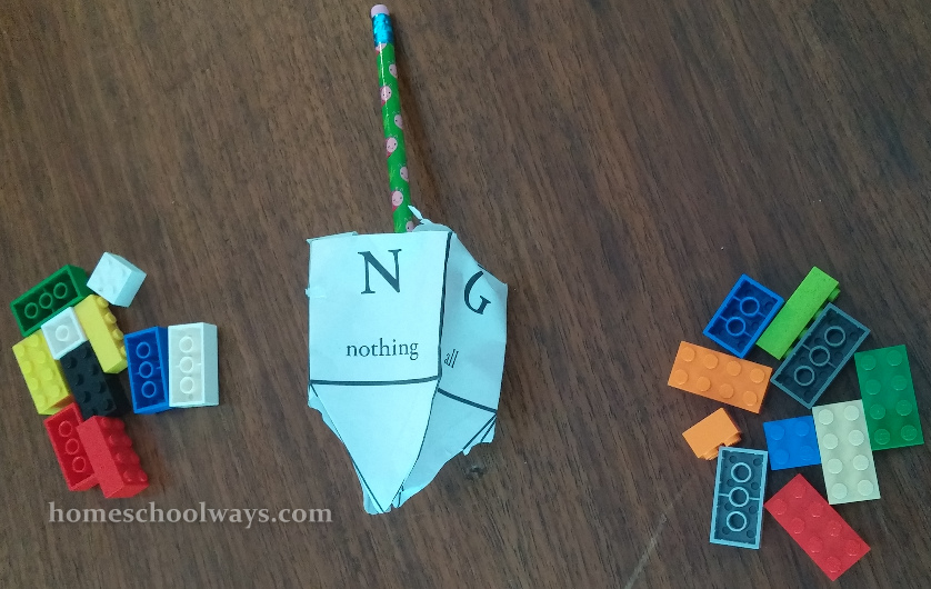 Playing Dreidel with LEGO bricks