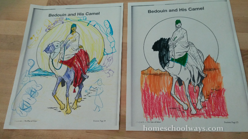 Bedouin on camel coloring sheet