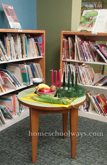 Kwanzaa symbols and candles