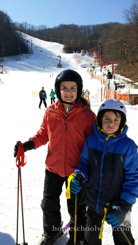 Mom and son on the ski slopes