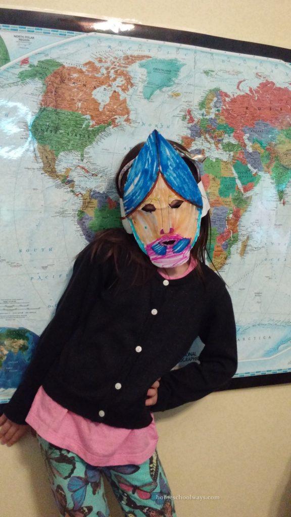 Conquistador mask with a pink beard