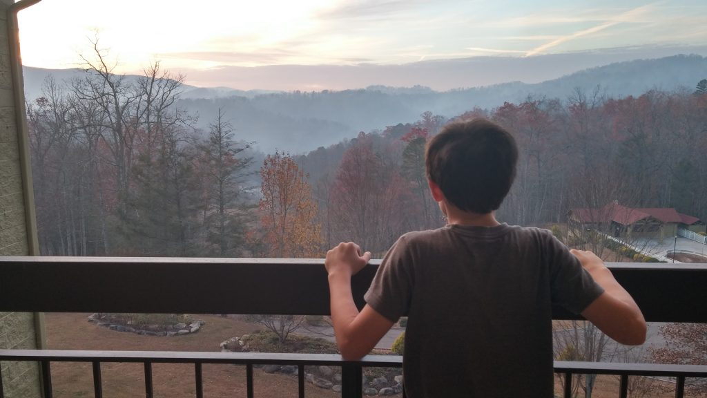 Boy on the balcony in the Smokies