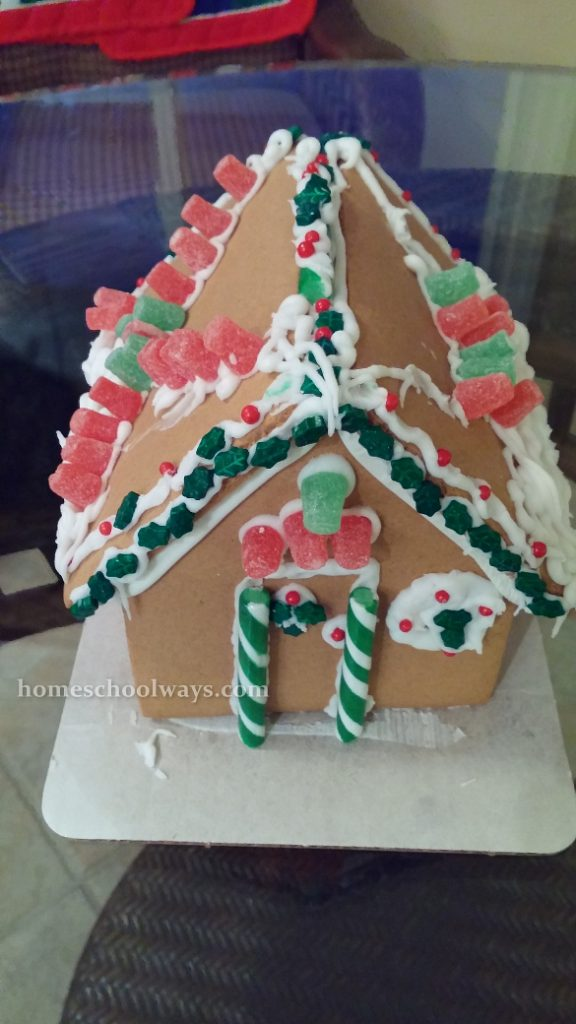 Gingerbread house decorated by children