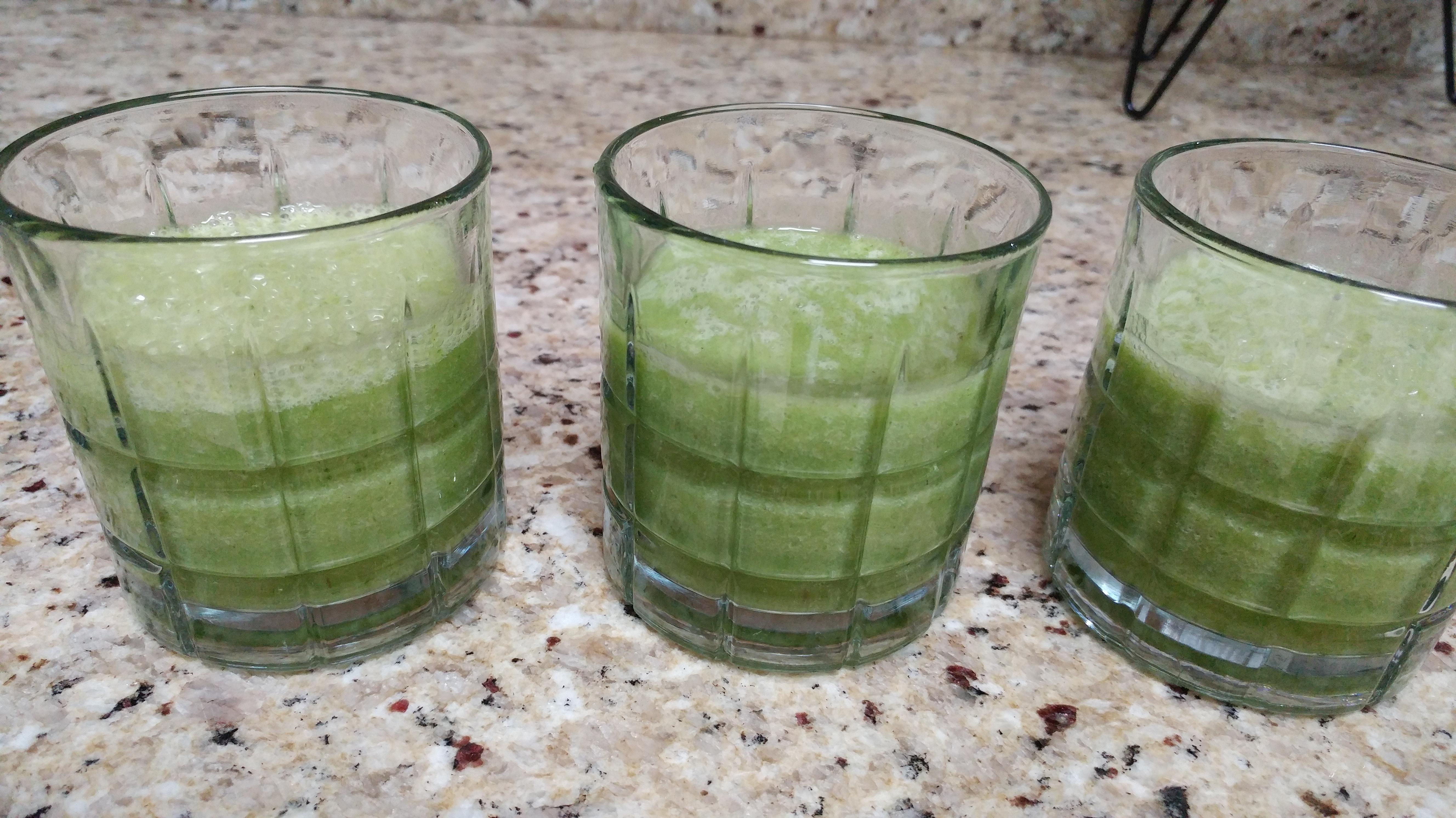 Green smoothies (kale, rice milk, bananas)