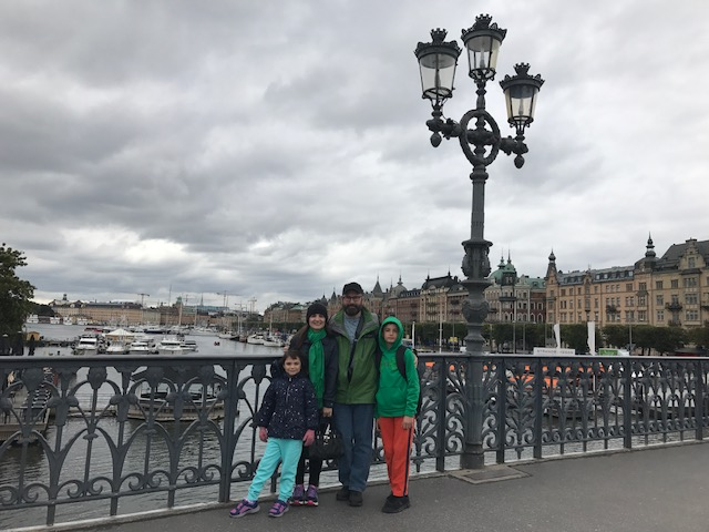 Family on the bridge to Djurgarden