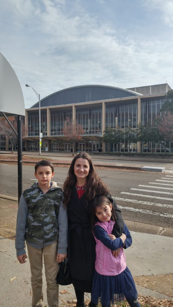 Mom and children at the Knoxville Civic Auditorium